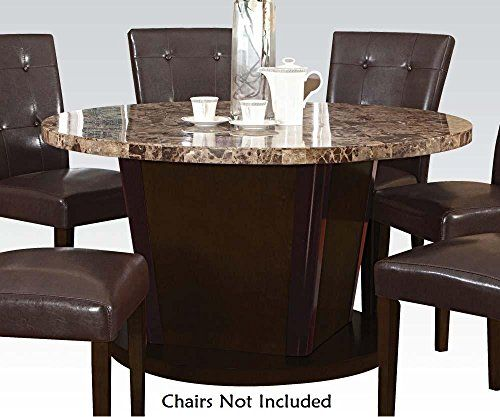Acme Granada Brown Marble Top Dining Table Espresso Finish Round Glass Dining Room Table 60 Round Dining Table Glass Dining Room Table