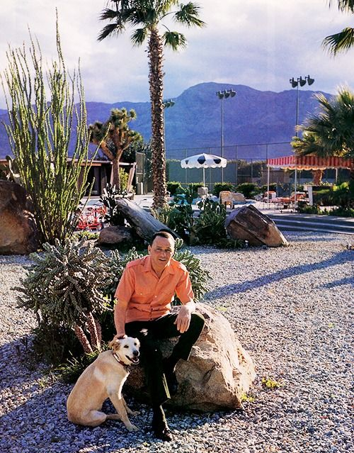 Frank Sinatra at home in Palm Springs with his dog Ringo, 1965. Photographed by John Bryson for Look magazine.