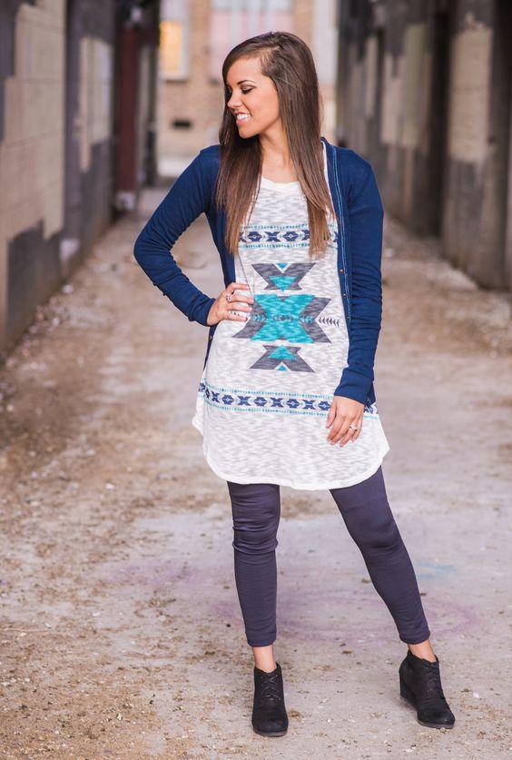 Mint tribal tunic. The Jean Girl