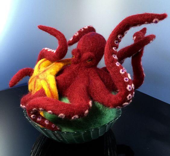 Octopus vs. Starfish, felted figure