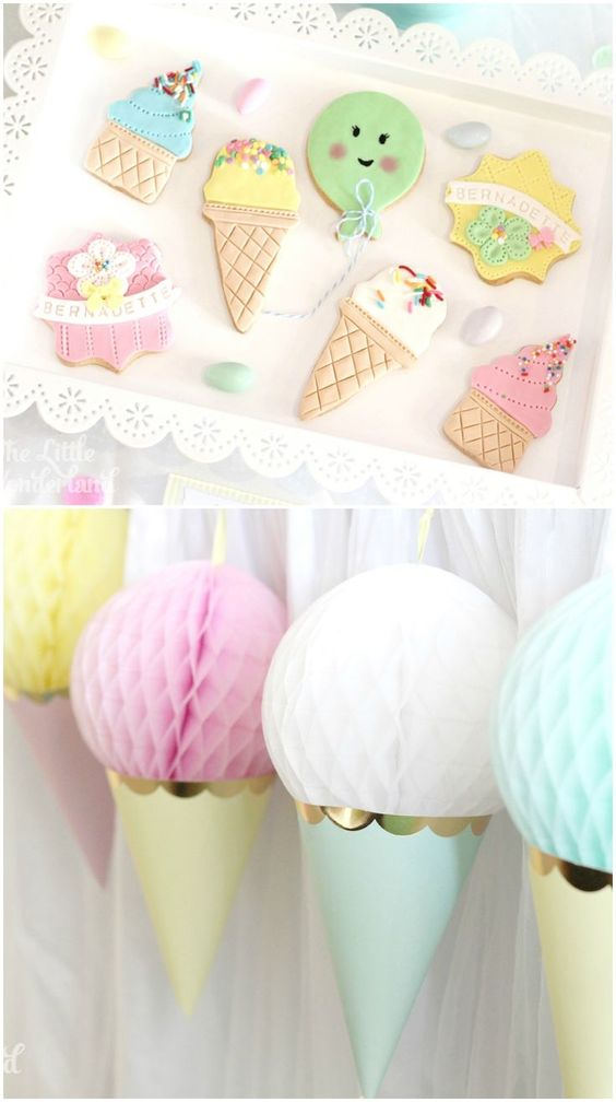 Love this idea of using upside down party hats and honeycomb tissue paper balls to make the perfect ice cream party decor