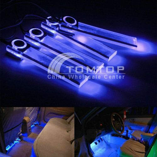 4 Led Car Interior Decorative Floor Dash Light Lamp Car Cigarette Lighter Blue Awesome Cars