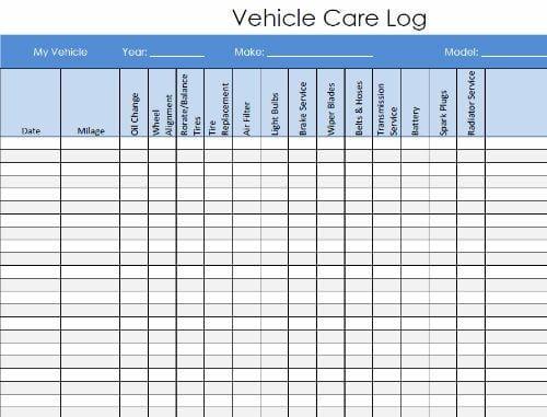 Vehicle Service Record Log Template 587 Vehicle Maintenance Log Vehicle Care Auto Repair
