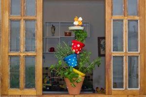 Monte uma horta ou floreira vertical com comedouro e atraia os passarinhos