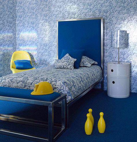 blue white yellow retro modern bedroom