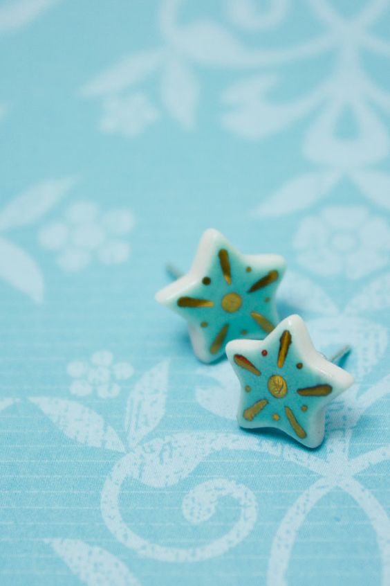 Ready To Ship: Turquoise Stud 18k Gold by SweetMudClayWorks
