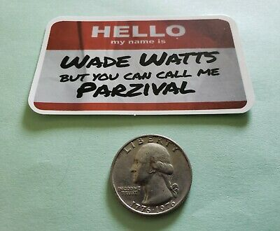 Ready Player One Wade Watts Parzival Name Tag VINYL DECAL Laptop Sticker Bomb