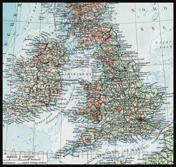 Antique map of the British Isles Great Britain UK Ireland Scotland – Map Uk Ireland Scotland