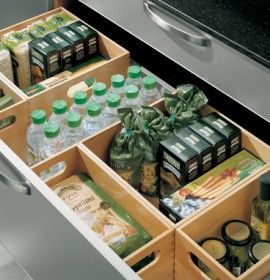 Wooden 'basket' to organize kitchen drawer to be handy mini pantry