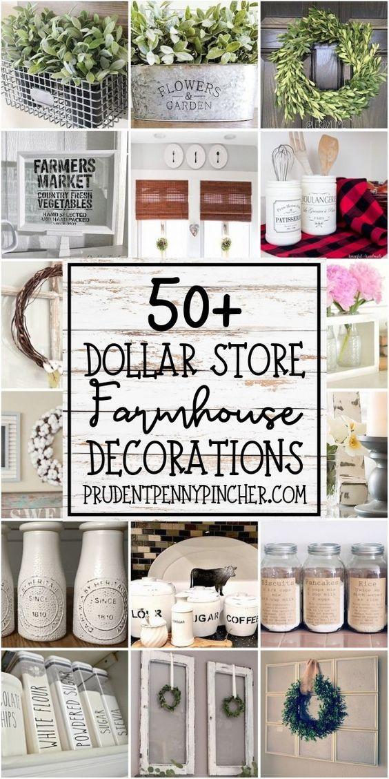 50 DIY Dollar Store Farmhouse Decorations #diy #dollartree #homedecor #diydecor #farmhouse #farmhousedecor