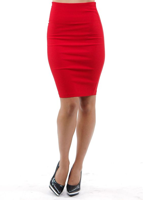 red short pencil skirt | Solid Pencil Skirt (Red) | Hawkgirl ...