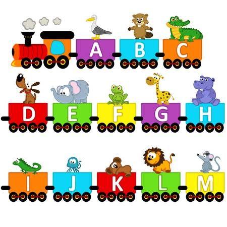 Animales Tren Alfabeto De La A A La M Ilustracion Vectorial Eps Clases De Dibujo Para Ninos Abecedario Para Ninos Trenes Preescolar