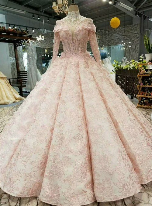Pink Ball Gown Lace High Neck Long Sleeve Bakcless Appliques Wedding Dress Bridal Dress Pink Bridal Ball Gown Pink Ball Gown