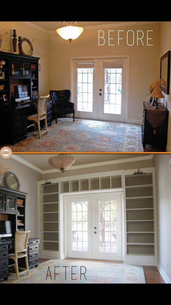 Built in bookcase & shelves .. So much storage added & looks great around the French doors: