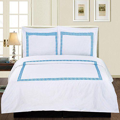 Golinens Luxury Serena 100 Cotton 3 Piece Duvet Cover Set With Shams Blue King Duvet Cover Sets Duvet Covers Duvet Sets