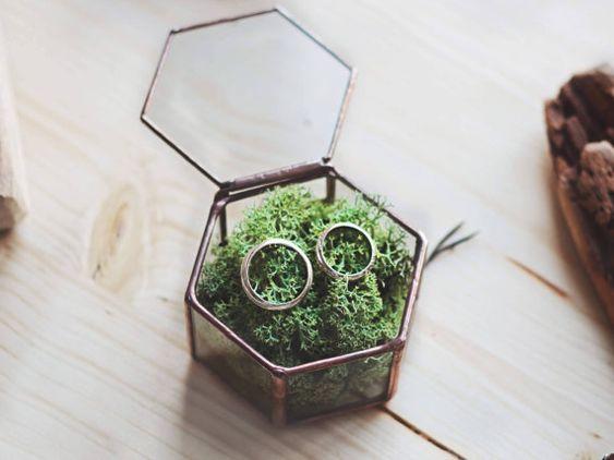 Mousse boîte de bague Alliance géométrique boîte boîte