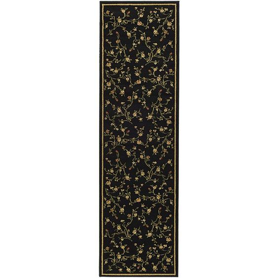 Office Runner - Warm your home decor with a Lyndhurst rug </li> <li>Transitional rug highlights patterns on a black background with a green border</li> <li>Fringeless borders on area rug give a very clean, elegant look and feel</li>