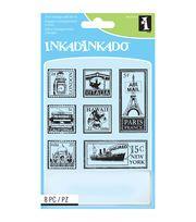 Inkadinkado Inchie Travel Postage Stamps Clear Stamp Sheet,