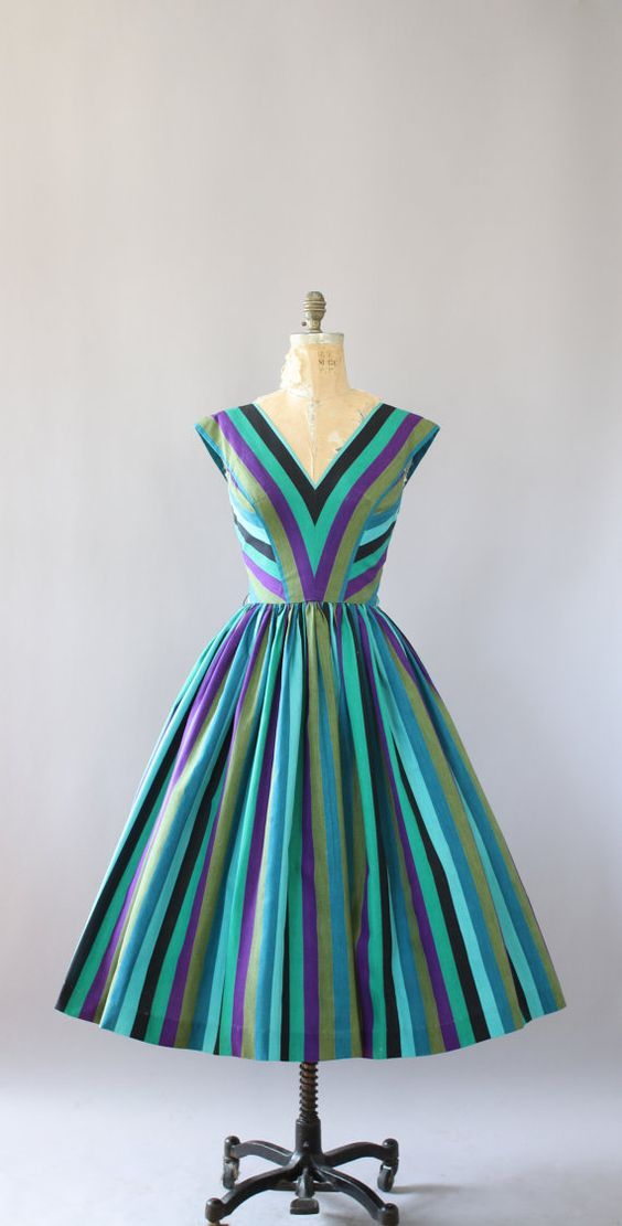 Vintage 50s Dress/ 1950s Cotton Dress/ Anne by WhenDecadesCollide