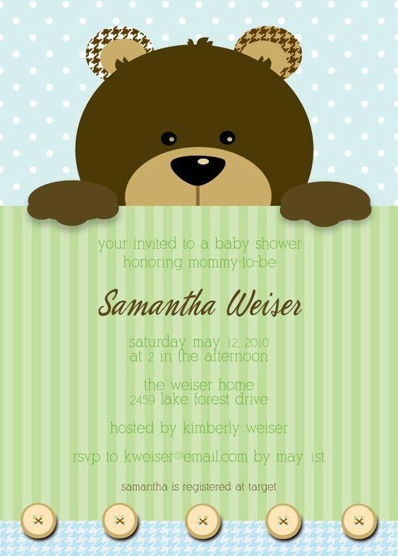 Teddy Bear, invitación baby shower osito