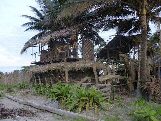 hut made of local bamboo is a typical style of construcion in Muisne, Ecuador