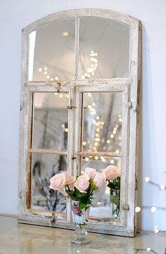 lovely mirror made from an old, original Dutch window complete with lovely old paint