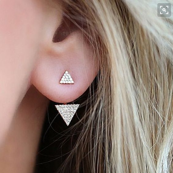 1Pair Full Crystal Rhinestone Triangle Ear Jacket Double Triangles Earring