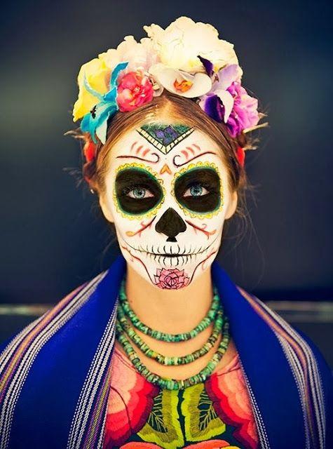 Maquillaje Frida Kahlo, Maquillaje Catrinas, Maquillaje Día, Catrina Frida Kahlo Maquillaje, Maquillaje Para Halloween Mujer, Disfraces De Halloween Para