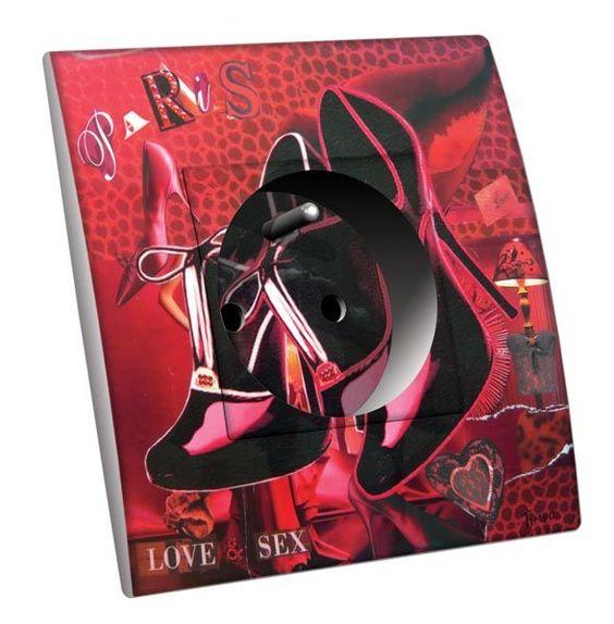 Prise décorée Anges - Charme / Paris Love 2 pôles + terre - Decorupteur