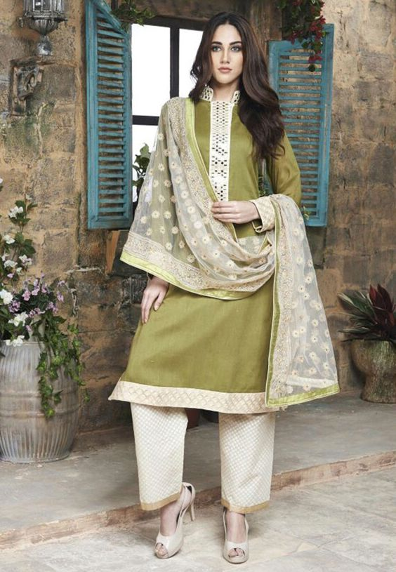 Mehendi Green and Cream Cotton Silk Party Wear Suit 7850/-