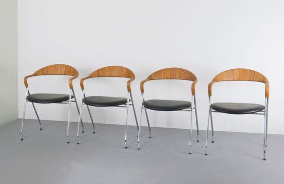 Bild 1 zu Objekt Vier Stühle 'Saffa - HE-103'Auktion: 103A - M Kat.Nr.: A359Manufacturer: Kel...