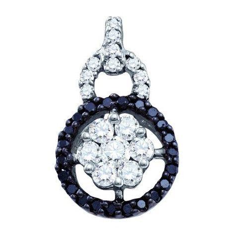 14k White Gold 0.54Ctw Black Diamond Fashion Pendant