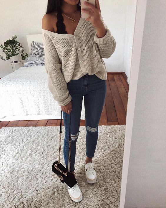 Look calça jeans cintura alta fashion