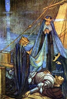 """""""So like a Shattered Column Lay the King"""" by Florence Harrison  [The women of Avalon escort King Arthur to the Otherworld.]"""