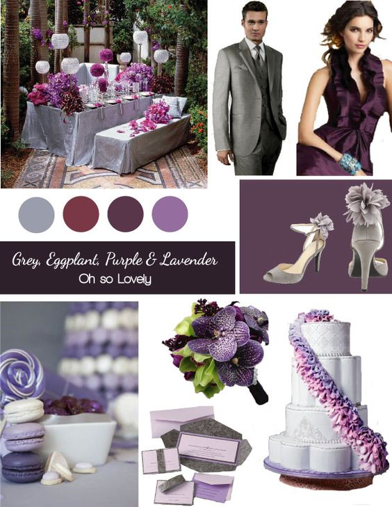 Grey eggplant purple lavender wedding colors pinterest wedding grey and charcoal - Purple and silver color scheme ...