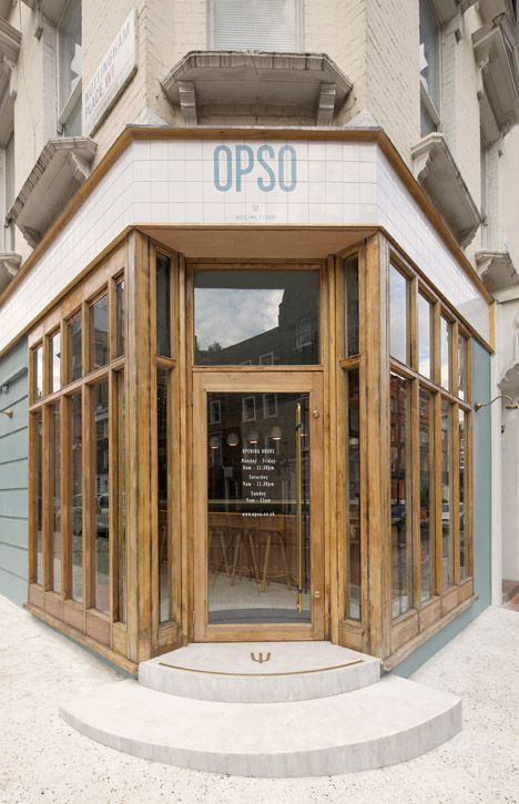 exterior of opso, a modern greek restaurant in london, england | foodie travel + storefronts