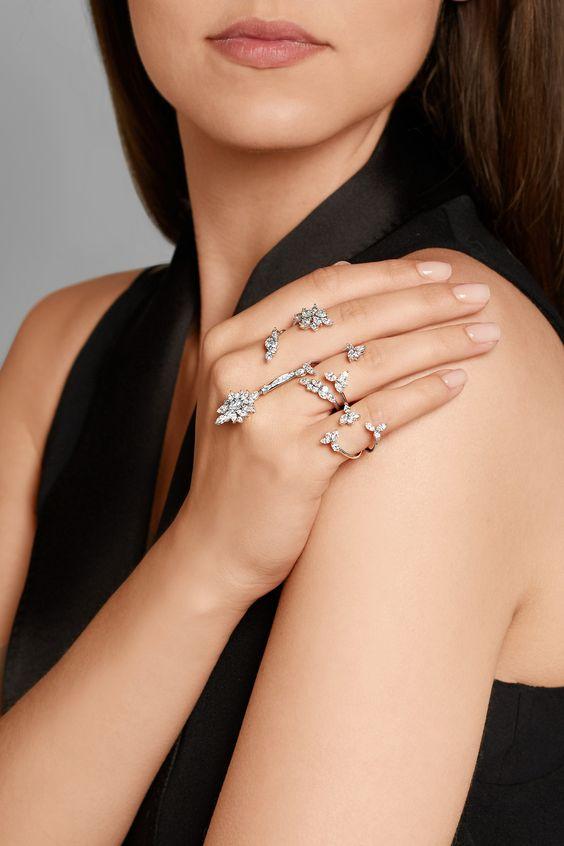 Yeprem   18-karat white gold diamond two-finger ring   NET-A-PORTER.COM