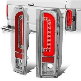90 97 Ford F150 F250 F350 Bronco Red Led Bar Rear Brake Tail Lights Chrome Housing In 2020 Tail Light Ford F150 F150