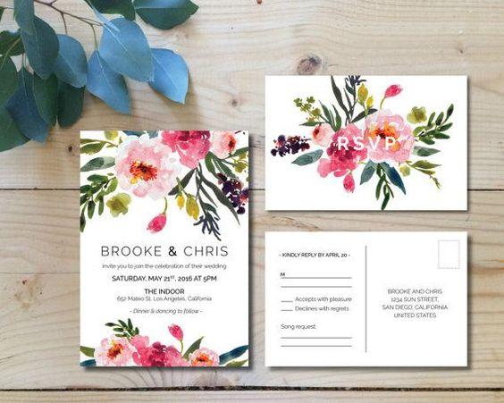 Printable Wedding Invitation Set   Wedding Invitation + RSVP postcard    Watercolor, modern, floral, botanical, bohemian, pink   Peonies