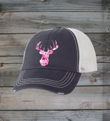 Country Girl ® Pink Camo Deer Head Trucker Hat