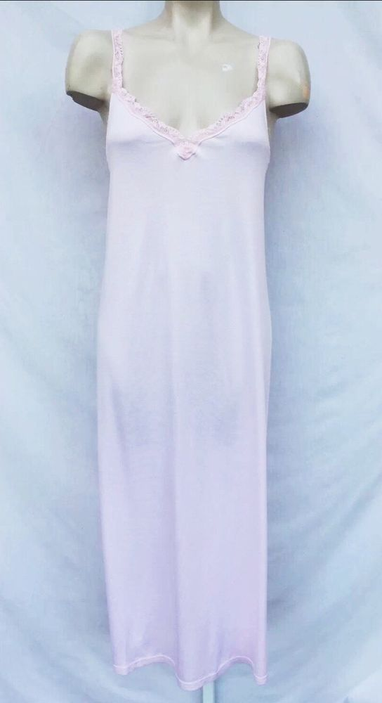 PLUTO BELGIUM LACE TRIM LIGHT PINK NIGHTGOWN GOWN SZ 40 / M $213 #Pluto #Gowns