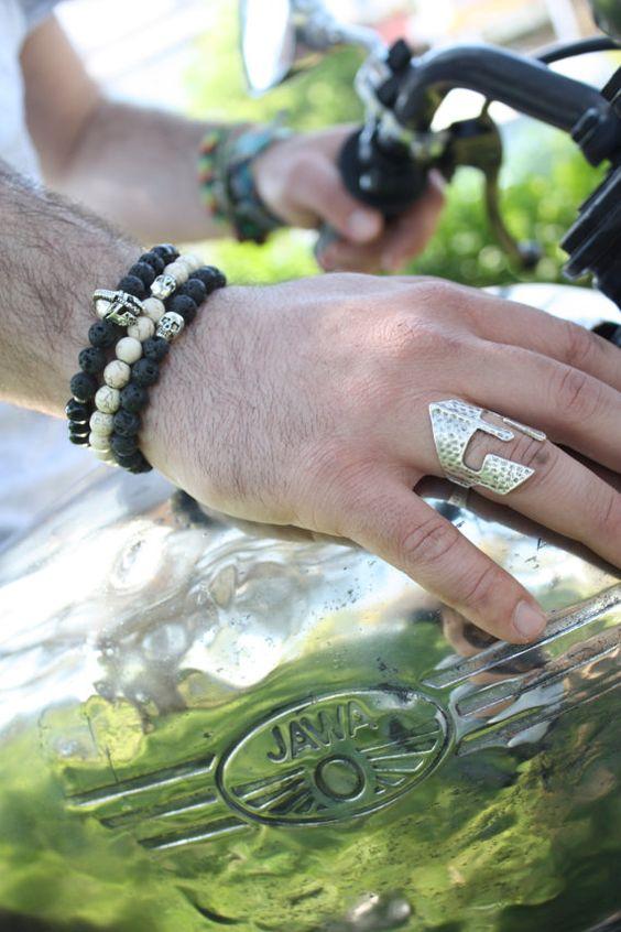 Boho Men Bracelet-Helmet Bracelet-Men by GypsyandGypsy on Etsy
