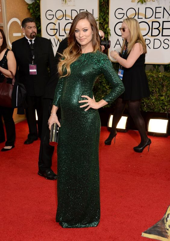 Pin for Later: Ein Baby-Bauch ist das schönste Accessoire der Stars Olivia Wilde bei den Golden Globe Awards, Januar 2014
