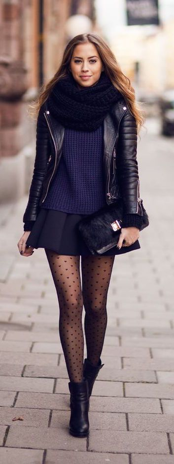 #winter #fashion / layers + leather: