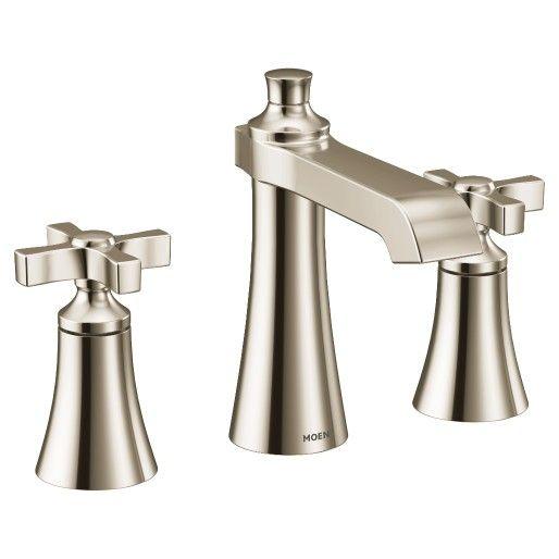Flara Polished Nickel Two Handle High Arc Bathroom Faucet In 2020