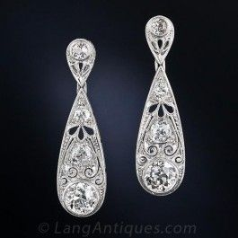 3.35 Carat Edwardian Style Diamond Drop Earrings - Antique & Vintage Earrings - Vintage Jewelry