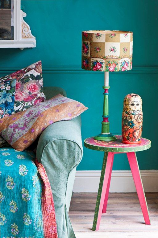 From the Bohemian style section of Room Recipes by Annie Sloan and Felix Sloan. This room has been painted and styled by Janice Issett