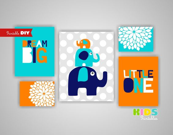 Printable DIY Nursery Prints Turquoise Navy by KidsPrintablesDIY, $20.00