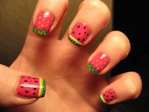 Watermellon: Summer Nails, Nail Design, Strawberry Nails, Watermelon Nails, Nail Art