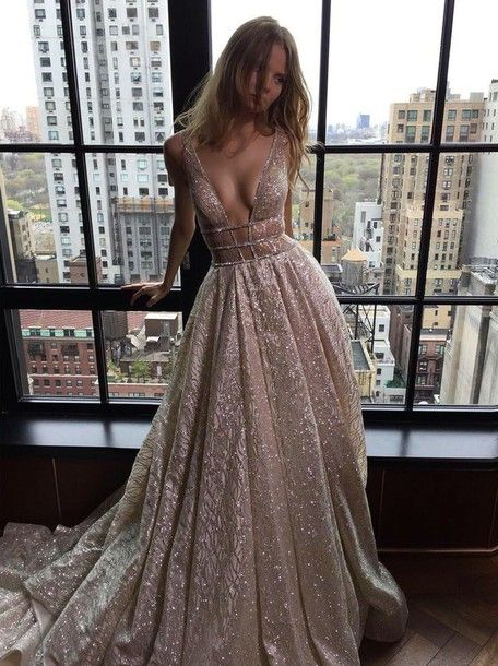 Dress: silver dress, gown, prom dress, beaded dress, glitter dress, glitter, deep v, long prom dress, nude dress, princess dress, prom, style, sparkly dress, fashion - Wheretoget